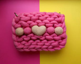 Pink Knitted clutch / merino yarn,  Knitted bag, Knitted woman clutch, chunky yarn, pink handbag, Christmas gift for her
