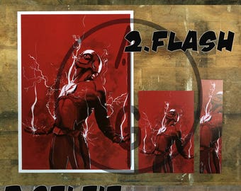 Grant Gustin, Barry Allen (The Flash) Artwork Fanart (BOOKMARK, marque page, Poster, PostalCard)