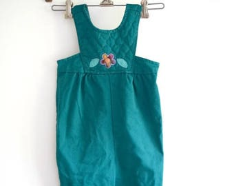 MOVING SALE vintage baby quilted top teal overalls // size 18 months