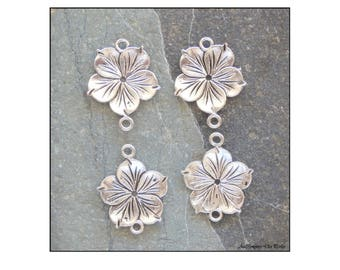 8  flowers connectors  2 holes, silver, 26x21 mm