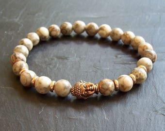 Mens bracelet - Chakra bracelet - Mala Bracelet - Man's bracelet - Mixed beads man's bracelet - Yoga bracelet - Gift for him - Fossil Jasper