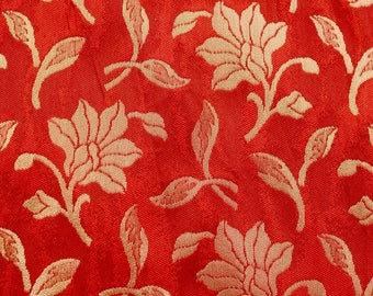 Half Yard of Wine Red and Golden Flower Brocade Silk Fabric by the yard