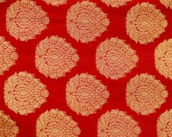 Half Yard of Red and Golden Zari Brocade Silk Fabric by the yard