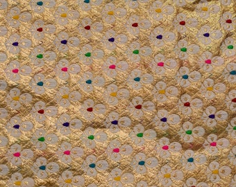 Cream, Golden and Multicolor heart design pattern Brocade Silk Fabric by the yard