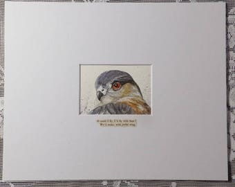 Hawk Painting, Sharp-shinned Hawk, birds of prey, gift for birder, bird art, bird of prey painting