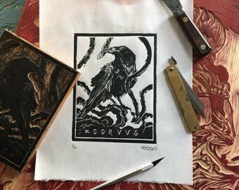 CORVUS III hand carved and printed woodcut print, limited edition of 20