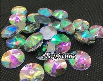 100 pcs 10 12 14 16 18 20 25mm Color AB Crystal Acrylic beads Rivoli Faceted Sew On Rhinestone Flat Back Jewels