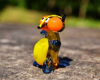 Yellow Glass badger figurine animals glass collectible badger miniature badger glass toy murano glass animals tiny stattue sculpture badger