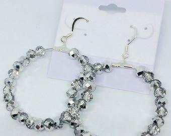 Sparkling silver hoop earrings