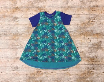 Hi lo beach dress - all the blues - age 2-3 high low hem toddler dress, easy care jersey fabric, ideal for twin girls and matching dresses