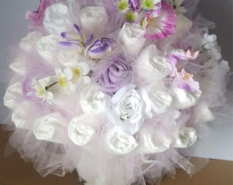 Garden Diaper Bouquet   Baby Shower Centerpiece   Baby Shower Decorations    Unique Baby Gift