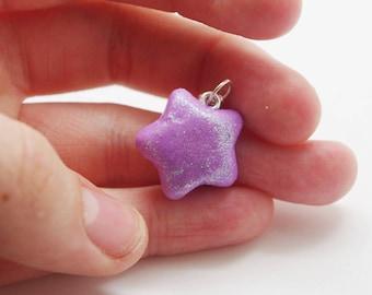 Purple, glittery, iridescent, handmade, polymer clay, star charm