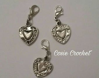 Heart charms | Stitch markers | Knitting | crochet | jewellery making | Keyring | Bag charm