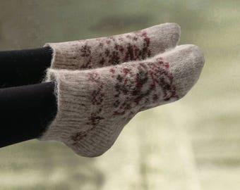 Knitted womens socks, Short ankle socks, Knit slippers women, Socks knitted wool, Knitted gift, Soft cozy knit socks, Woolen female socks
