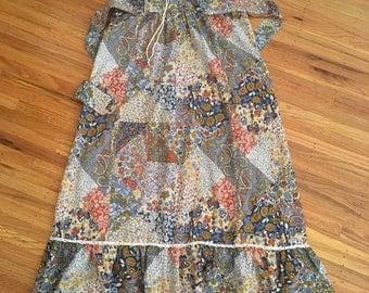 1960's boho patchwork maxi dress