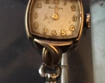 1950's Ladies Bulova wrist watch. 10k RGP Bezel. W366044. To my knowledge watch is inoperable.