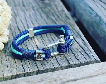 Sailor Nautical Ushackle Bracelet with Stainless Steel and Nylon Cord