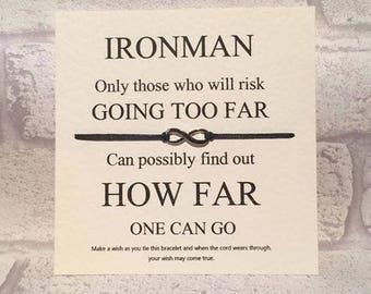 Ironman  Tibetan Silver Charm Wish Bracelet & Message Card    Handmade By Erin