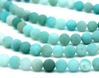Matte Amazonite Beads 8mm Natural Amazonite Gemstone Beads Aqua Green Beads Mala Beads Amazonite Jewelry Supplies Mint Gemstone Beads