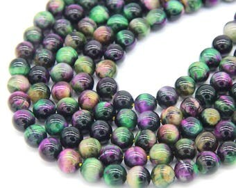 Rainbow Tiger Eye Beads 8mm A Quality Green Fuschia Tiger Eye Gemstone Beads Mala Beads Rainbow Tiger Eye Gemstone Beads Full strand