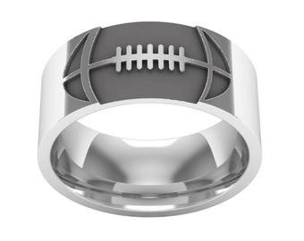 American Football Band Ring in Sterling Silver Metal, Football Ring, Football Jewelry, Man Band Ring, Silver Wedding Ring, Wedding Band Ring
