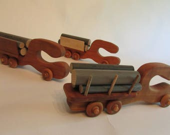 log truck, truck, toy truck, logging truck, toy, hand made, original design, solid wood, logs