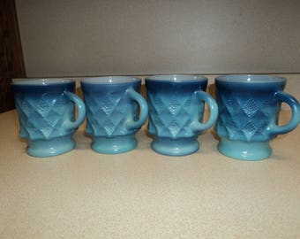 Vintage Set of 4 Fire King Blue Kimberly Mugs