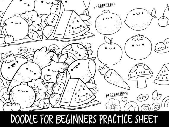 Doodle for Beginners Ep2 ReferencePractice Printable Kawaii