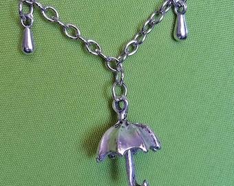 Rainy Day Nickel Free Necklace with Umbrella Charm