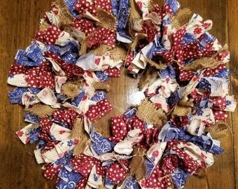 Rustic Americana Rag Wreath