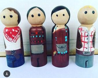 Set of 2 Cowboy and Indian Peg dolls, pegdolls, cowboys, indians, wooden toys, kids decore