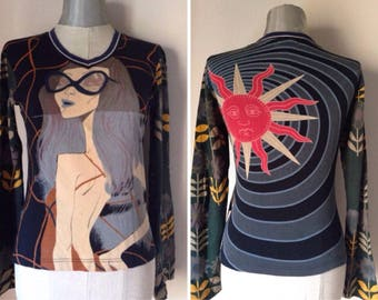 Custo Barcelona Vintage/pop art face print top/printed sleeves/V neck/different prints front and back/Unique blouse/Extravagant women's top