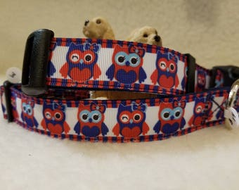 Owls Handmade Dog Collar 1 Inch Wide Large & Medium