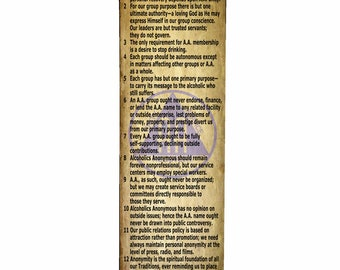 12 Traditions of AA Rustic Banner - 2' x 6' Polypropylene Printed Indoor Banner w/grommets in the corners ~ BANNER006