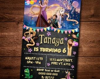 Tangled Birthday invitation card, Rapunzel, Birthday party card, Invitation, Editable text, Rapunzel Invitation card