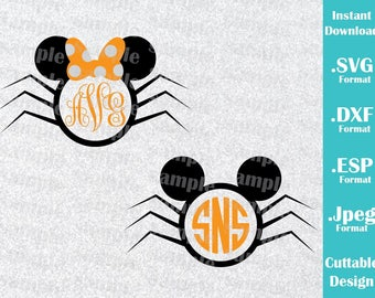 INSTANT DOWNLOAD Disney Halloween Inspired Minnie and Mickey Ears (Font, monogram Not included) Cutting Machines Svg, Esp, Dxf Jpeg Files