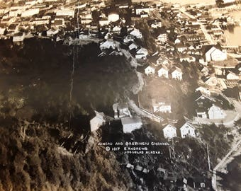 Original Print of 1917 Ed Andrews of Douglas, Alaska 12 x 20 Photographic view of Juneau and Gastineau Channel in sepia, cardboard mount.