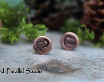Heart Copper Stud Earrings, Stamped Copper Earrings, Hand Stamped Earrings, Rustic Stud Earrings, Copper Earrings, Heart Earrings