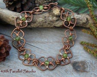 Copper Peridot Heart Bracelet, Handcrafted Copper Bracelet, Heart Bracelet, Copper Bracelet, August Birthstone, Peridot Bracelet, Peridot