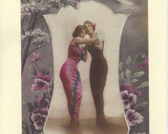 Vintage Gay Card, LGBTQ - Tango - newlywed lesbian wives, first dance, married lesbians card, dance team card