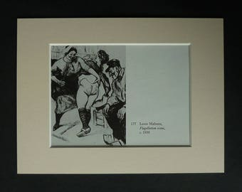 Vintage Louis Malteste Erotic Print, Available Framed, Whipping Art, Flagellation Picture, BDSM Gift, Corporal Punishment, Spanking Decor
