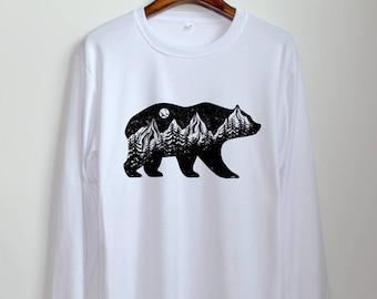 Bear shirt etsy bear shirt bear hiking shirt long sleeve shirts clothing women unisex publicscrutiny Image collections