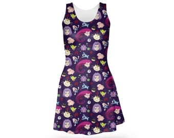 Team Rocket Dress - Skater Dress Pokemon Dress Anime Dress Plus Size Dress Cartoon Dress Jessie Dress James Dress Meowth Dress