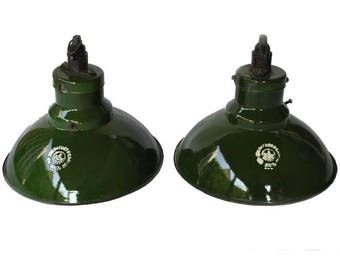 Pair of green enamel pendant lights - industrial pendant lights - vintage pendant lights - green enamel shades - industrial lighting