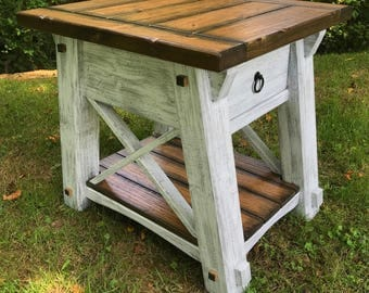 X-Style Country Side Table, X Side Table, Rustic Side Table, End Table, Rustic End Table, X End Table, Handcrafted End Table