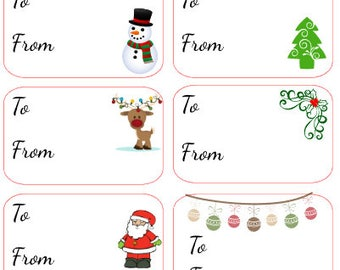 Christmas Labels / Stickers Available from Santa, from your family names or blank 12 stickers included