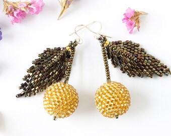 Cherry beaded earrings, bronze gold berries handmade seed beaded earrings for pierced ears, pom pom ear wires 6cm Clothing gift for her