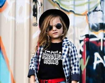 I'm just a Threenage dirtbag Threenager Birthday Party Rock and Roll Modern Toddler Boy Girl Black White Monochrome Punk Theme Music Wheatus