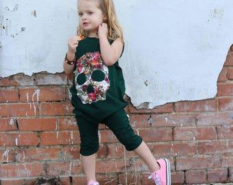 Floral Lace Skull Emerald Blush Harem Sleeveless Mid Length Romper Baby Toddler Boy Girl Spring Easter Outfit Grunge