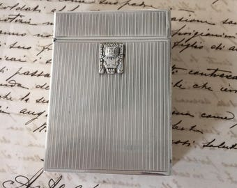 Old cigarette case, silver cigarette case, silver box, Perù, Peruvian silver